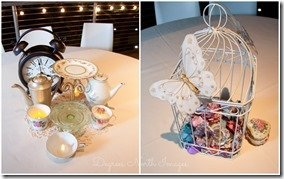 Beauty and the Beast and Peter Pan inspired wedding party centerpieces, photography by Degress North Images   MouseMingle.com
