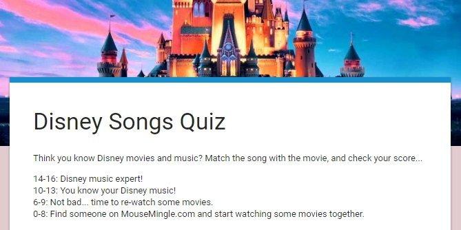 Disney Songs Quiz   MouseMingle.com