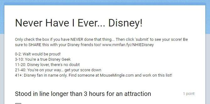 Never Have I Ever… Disney!   MouseMingle.com